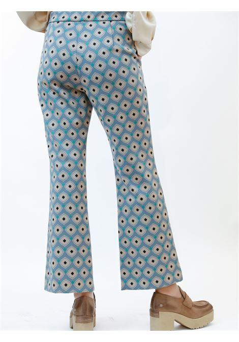 Abbigliamento Donna Pantaloni Archizo in Jersey Jacquard Stretch Celeste Polvere a Fantasia Maliparmi | Gonne e Pantaloni | JH747960050C6050