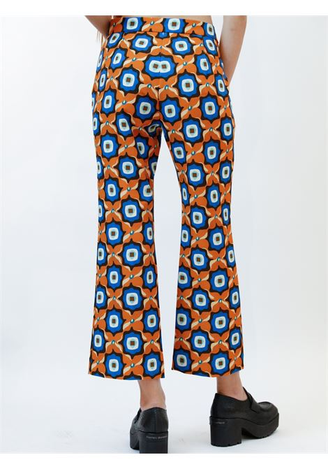 Women's Clothing Alchemy Print Cady Trousers in Cady Tan and Cobalt Maliparmi | Skirts and Pants | JH747960058A4131