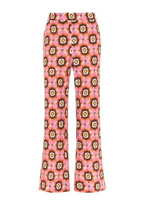 Women's Clothing Alchemy Print Cady Trousers Tan in Cady Pink and Brown Maliparmi | Skirts and Pants | JH747960058B3248
