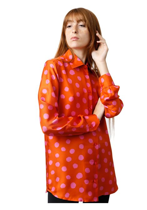 Women's Clothing Silk Twill Tale Shirt in Red and Pink Silk with Long Sleeves Maliparmi | Shirts and tops | JM214430112A3095