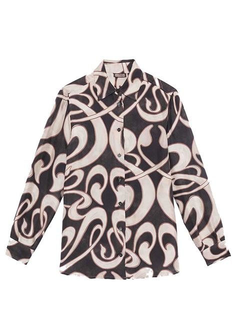 Women's Apparel Silk Twill Tale Shirt in Black Patterned Long Sleeves Maliparmi | Shirts and tops | JM214430112B2031