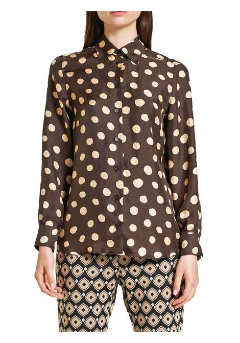 Women's Clothing Silk Twill Tale Shirt, in Brown and Beige Silk, with Long Sleeves Maliparmi | Shirts and tops | JM214430112B4075