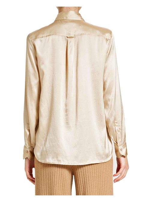 Women's Clothing 100% Pure Silk Satin Shirt Beige Long Sleeves Maliparmi | Shirts and tops | JM21443102011010