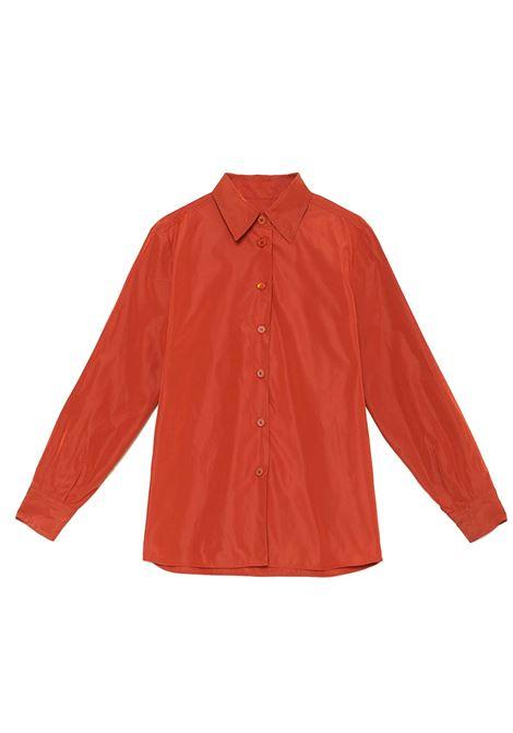 Women's Clothing 100% Pure Silk Satin Shirt Geranium Long Sleeves Maliparmi | Shirts and tops | JM21443102034007