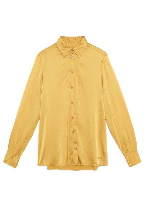 Women's Clothing 100% Pure Silk Satin Shirt Mustard Long Sleeves Maliparmi | Shirts and tops | JM21443102070013