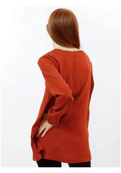 Women's Clothing Silk Satin Crew Neck Shirt in Pure Rust Silk Long Sleeves Maliparmi | Shirts and tops | JM40603102031038