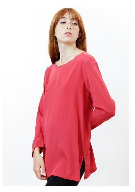 Women's Clothing Silk Satin Crew Neck Shirt in Pure Geranium Silk Long Sleeves Maliparmi | Shirts and tops | JM40603102034007