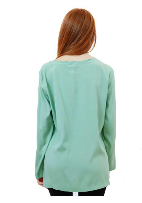 Women's Clothing Silk Satin Crew Neck Shirt in Pure Green Silk Long Sleeves Maliparmi | Shirts and tops | JM40603102060055