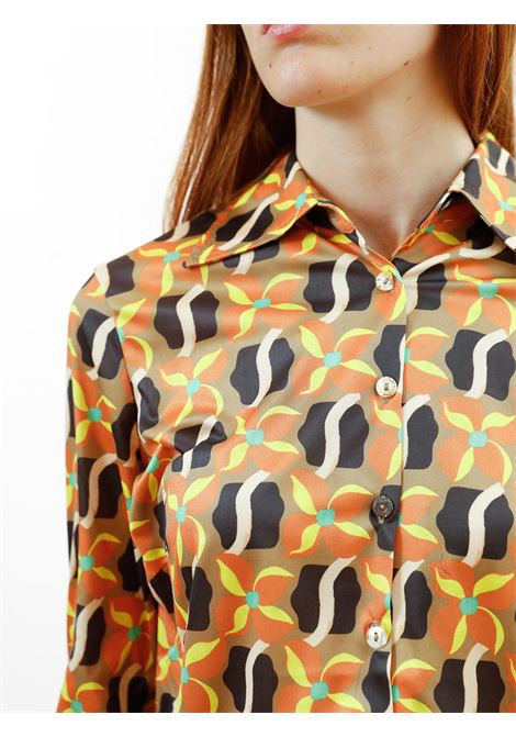 Women's Clothing Wavy Daff Jersey Stretch Shirt Printed in Beige with Pattern Maliparmi | Shirts and tops | JM445570524B1252