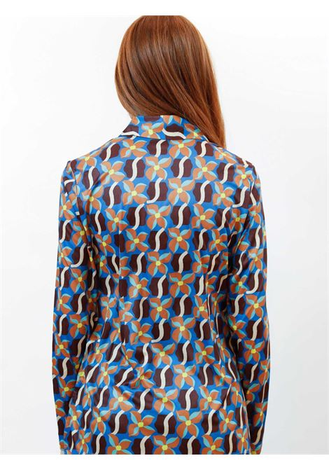 Women's Clothing Wavy Daff Jersey Stretch Shirt Printed in Blue with Pattern Maliparmi | Shirts and tops | JM445570524C8053