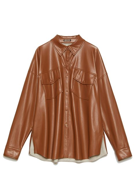 Women's Clothing Shirt Leather in Caramel Eco-Leather with Front Pockets and Side Slits Maliparmi | Shirts and tops | JM54335056941008
