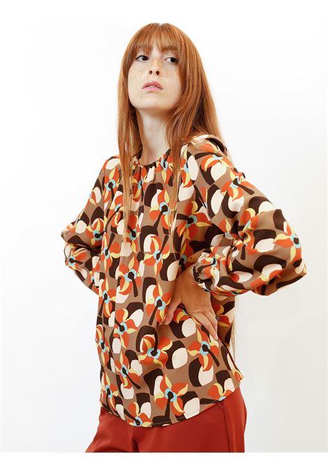 Women's Clothing T-Shirt Long Sleeve Wallpap Shirt Beige Patterned Maliparmi | Shirts and tops | JM544360059B1253