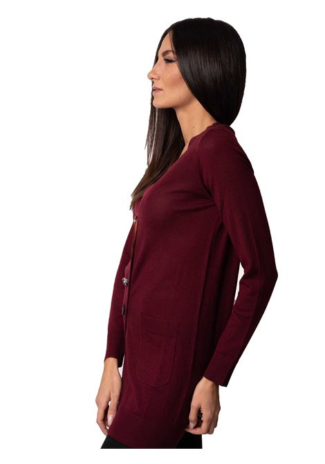 Women's Clothing Cardigan Colours of the World in Bordeaux Wool V-Neck with Jewel Button Maliparmi | Knitwear | JN21547423033010