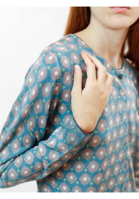 Abbigliamento Donna Cardigan Archizoom Merinos in Pura Lana Salvia e Avorio a Maniche Lunghe e Mix di Bottoni Maliparmi | Maglieria | JN355170511C6037