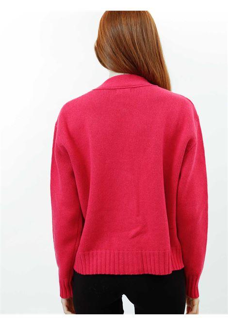 Abbigliamento Donna Cardigan Misto Cachemire in Rosso Geranio con Bottoni in Tinta Maliparmi   Maglieria   JN35537431534007