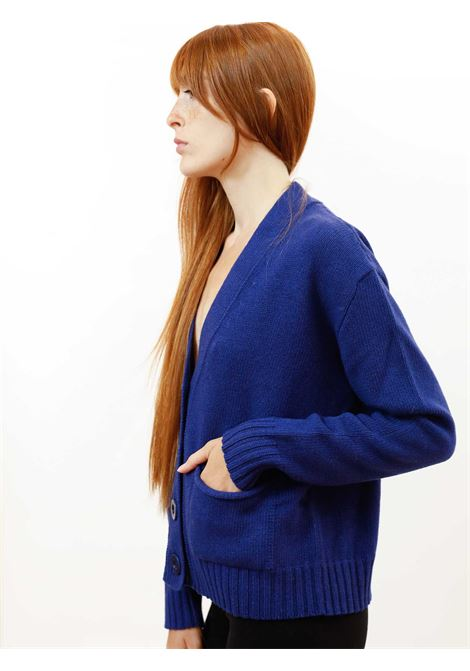 Women's Clothing Mixed Cashmere Cardigan in Cobalt Blue with Matching Button Maliparmi | Knitwear | JN35537431580059