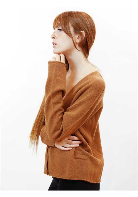 Abbigliameto Donna Cardigan Soft in Cashemire Cuoio con Bottoncini in Tinta Maliparmi | Maglieria | JN35757045741008