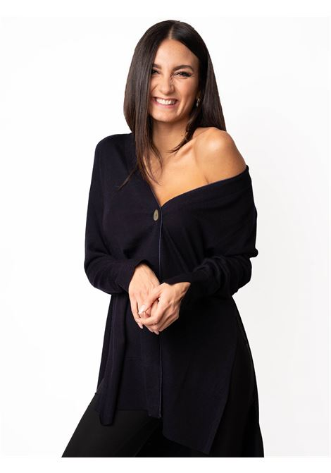 Women's Clothing Cardigan Colors of the World in Warm and Light Wool Dark Blue Maliparmi | Knitwear | JN35787423080025