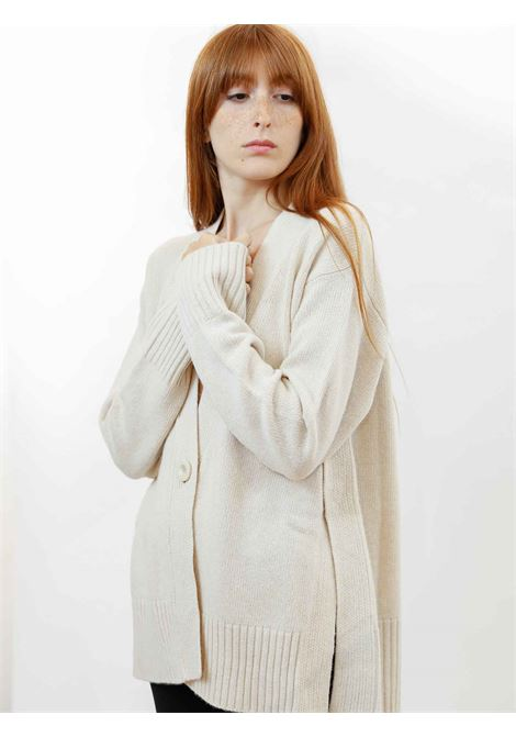 Women's Clothing Maxi Cardigan in Ivory Cashmere with Matching Buttons  Maliparmi | Knitwear | JN35797431510003
