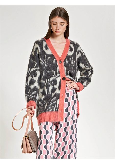 Women's Clothing Maxi Cardigan Decò Flower V-neck in Jacquard and Floral Design and Button Mix Maliparmi | Knitwear | JN358077098B2026