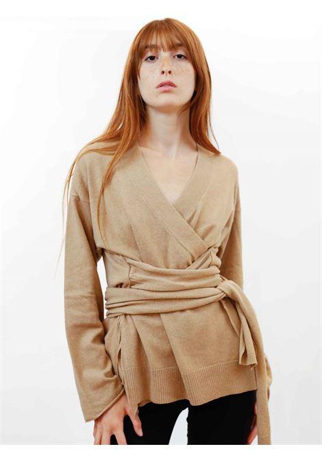 Women's Clothing Re-volution Cardigan in Beige Wool with Matching Waist Belt Maliparmi | Knitwear | JN35847051812035