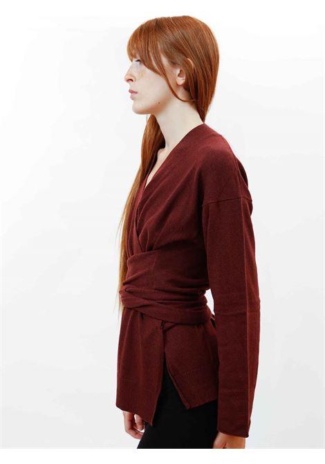 Women's Clothing Re-volution Cardigan in Burgundy Wool with Matching Waist Belt Maliparmi | Knitwear | JN35847051833010