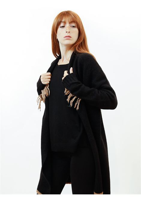 Women's Clothing Long Open Cozy Jumper in Cobalt Black Wool with Beige Wool Embroidery and Fringes Maliparmi | Knitwear | JN35857052120000