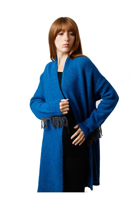 Women's Clothing Long Open Cozy Jumper in Cobalt Blue Wool with Black Wool Embroidery and Fringes Maliparmi | Knitwear | JN35857052180059