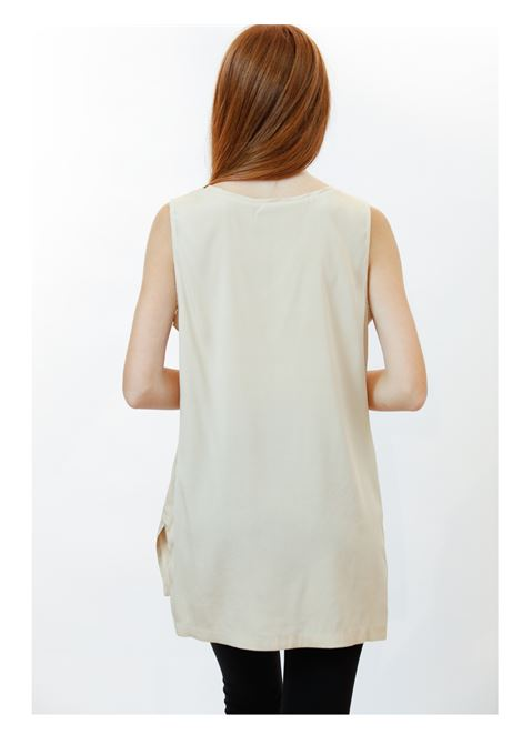 Women's Clothing Silk Satin Top in Beige Pure Silk Maliparmi | Shirts and tops | JP50793102011010