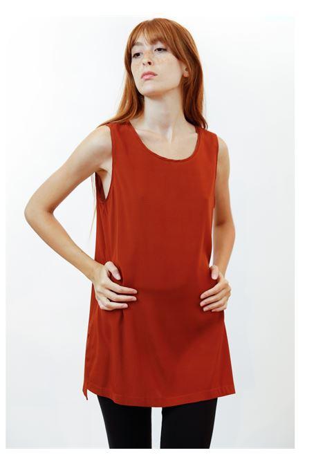 Women's Clothing Silk Satin Top in Rusty Pure Silk Maliparmi | Shirts and tops | JP50793102031038
