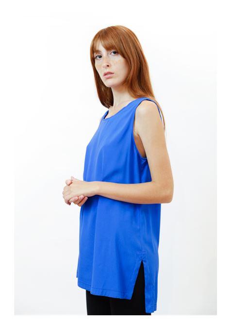 Women's Clothing Silk Satin Top in Cobalt Pure Silk Maliparmi | Shirts and tops | JP50793102080059