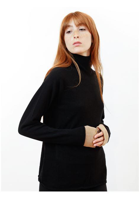 Abbigliamento Donna Maglia Dolcevita Wool & Cachemire in Nero e Beige Maliparmi | Maglieria | JQ48777425720000