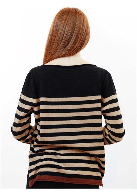 Abbigliamento Donna Maglia Wool & Cachemire a Righe Nero e Beige con Scollo Largo Maliparmi | Maglieria | JQ48787050612B20