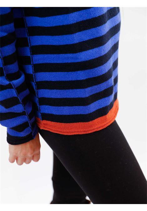 Abbigliamento Donna Maglia Wool & Cachemire a Righe Blu e Nero con Scollo Largo Maliparmi | Maglieria | JQ48787050680B80