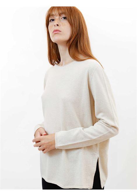 Women's Clothing Sweater in Ivory Wool & Cashmere with Wide Neckline Maliparmi | Knitwear | JQ48787425710003
