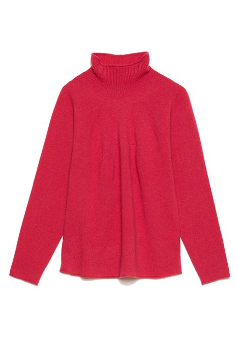 Abbigliamento Donna Maglione Soft Cash in Cachemire Geranio con Collo Alto e Fondo Svasato Maliparmi | Maglieria | JQ48797045734007