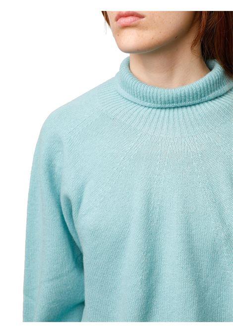 Abbigliamento Donna Maglione Soft Cash in Cachemire Verde Acqua con Collo Alto e Fondo Svasato Maliparmi | Maglieria | JQ48797045760012