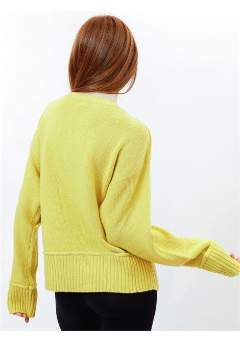 Abbigliamento Donna Maglione Cachemire Merinos in Giallo con Scollo Largo Maliparmi | Maglieria | JQ48857431570009