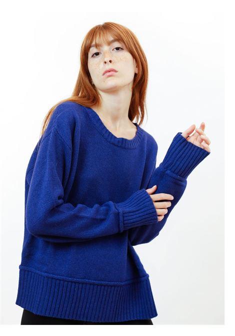 Abbigliamento Donna Maglione Cachemire Merinos in Blu Cobalto con Scollo Largo Maliparmi | Maglieria | JQ48857431580059