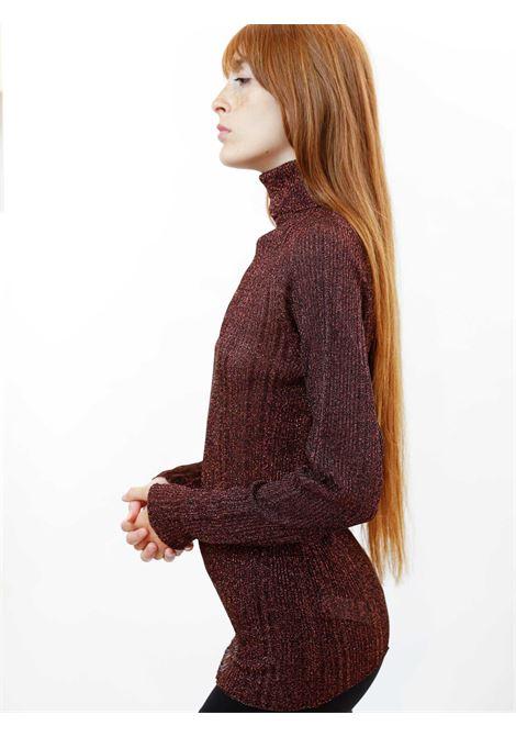 Abbigliamento Donna Maglia in Lurex Vinaccio con Collo Alto a Coste Maliparmi | Maglieria | JQ48867036533010