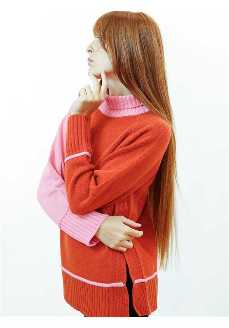 Abbigliamento Maglione Donna Cachemire Merinos Collo Alto in Rosa e Mattone Maliparmi | Maglieria | JQ48877431541C32