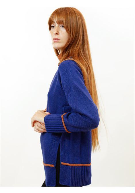 Women's Clothing Turtleneck Sweater in Blue and Orange Merino Cashmere Maliparmi | Knitwear | JQ48877431580B31