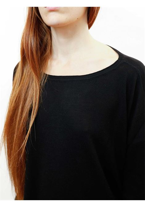 Abbigliamento Donna Maglia Colours The World in Lana Nero e Scollo Ampio Maliparmi | Maglieria | JQ48917423020000