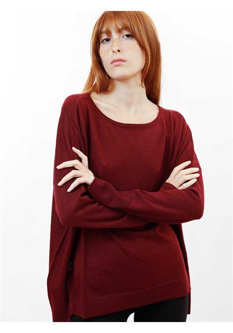 Abbigliamento Donna Maglia Colours The World in Lana Vinaccia e Scollo Ampio Maliparmi | Maglieria | JQ48917423033010