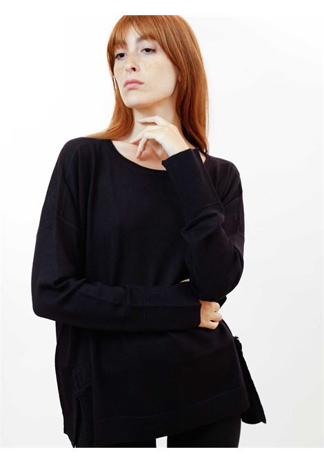 Women's Clothing Sweater Colours The World in Deep Blue Wool with Crew-neck Maliparmi | Knitwear | JQ48917423080025