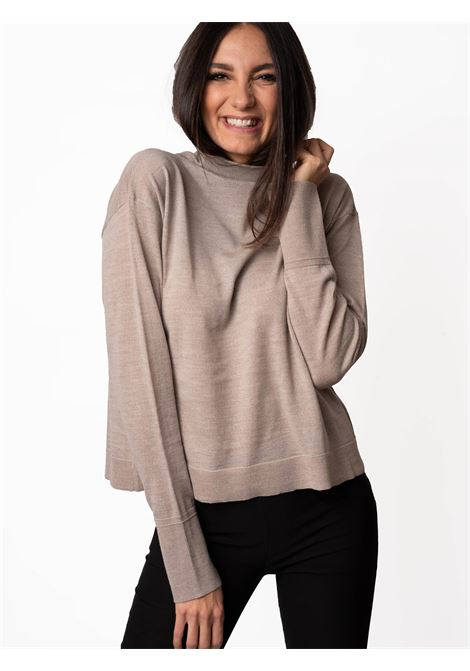 Women's Clothing Sweater Colours The World in Taupe Wool Merino with Crater-neck Maliparmi | Knitwear | JQ48927423012011