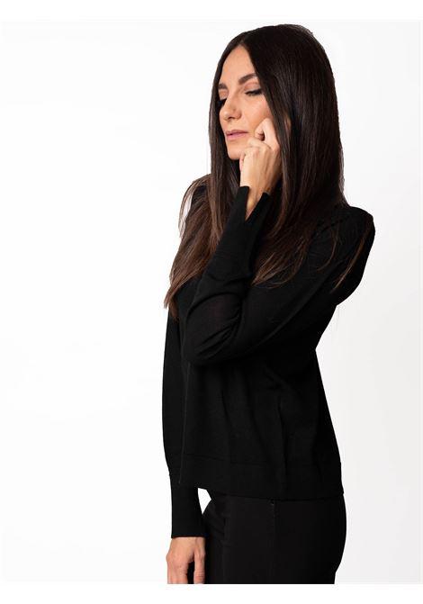 Abbigliamento Donna Maglia Colours The World in Lana Merinos Nero e Scollo a Cratere Maliparmi | Maglieria | JQ48927423020000
