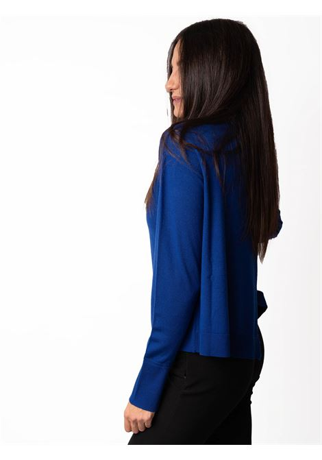 Women's Clothing Sweater Colours The World in Blue Wool Merino with Crater-neck Maliparmi | Knitwear | JQ48927423080059