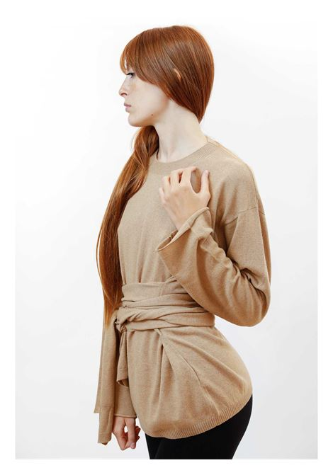 Abbigliamento Donna Maglia Re-volution in Lana Beige Girocollo con Cintura in Vita a Tono Maliparmi | Maglieria | JQ48987051812035