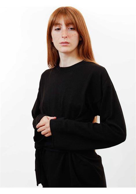 Abbigliamento Donna Maglia Re-volution in Lana Nero Girocollo con Cintura in Vita a Tono Maliparmi | Maglieria | JQ48987051820000